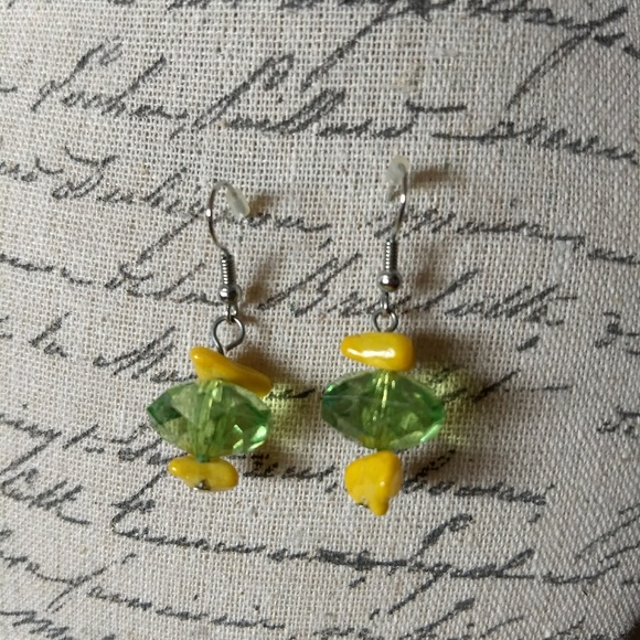 5 for $25 Yellow stone & green crystal earrings